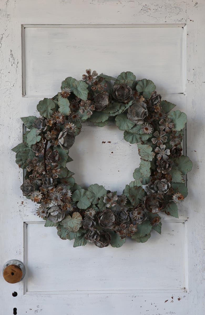 TERRAIN Floral Leaf Metal Wreath, Main, color, 300
