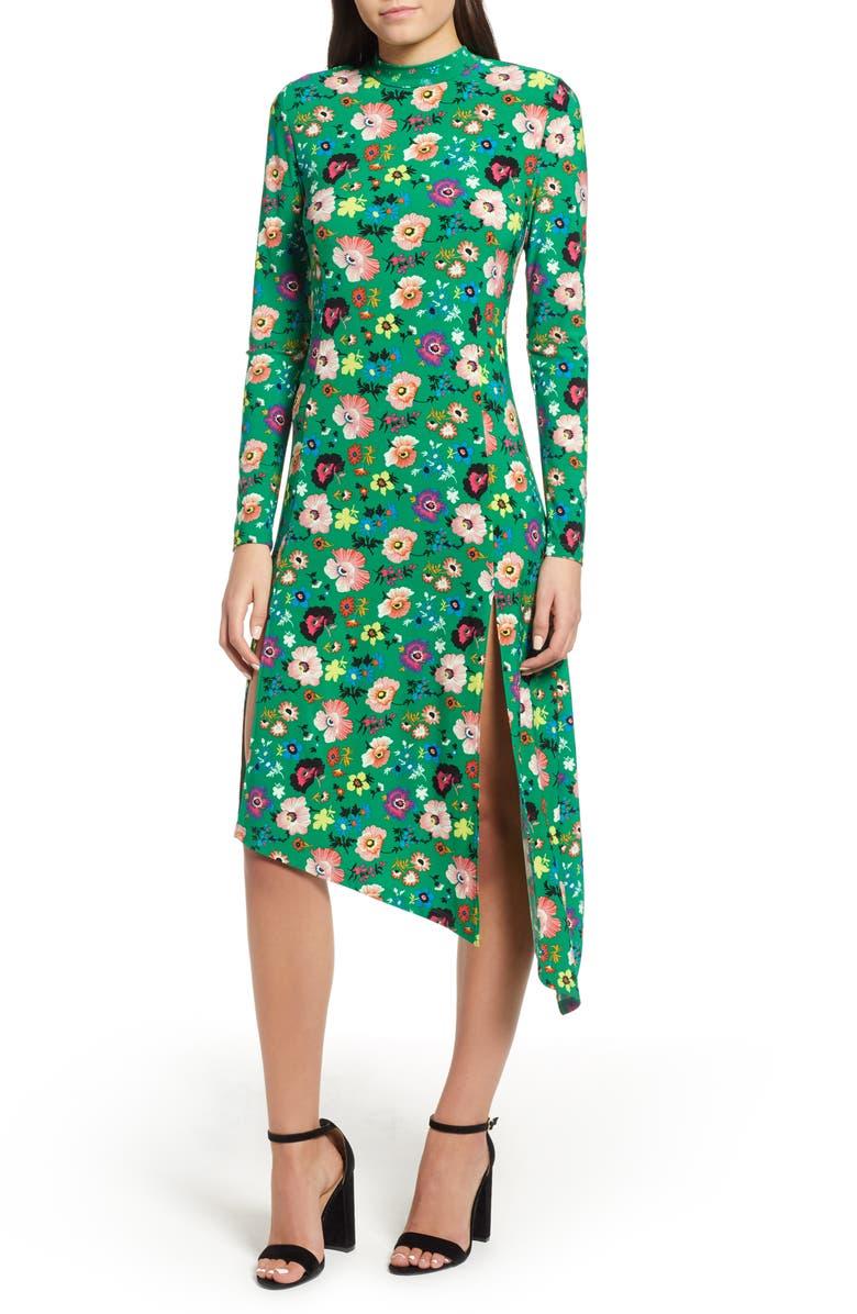TOPSHOP Floral Chuck On Midi Dress, Main, color, 300