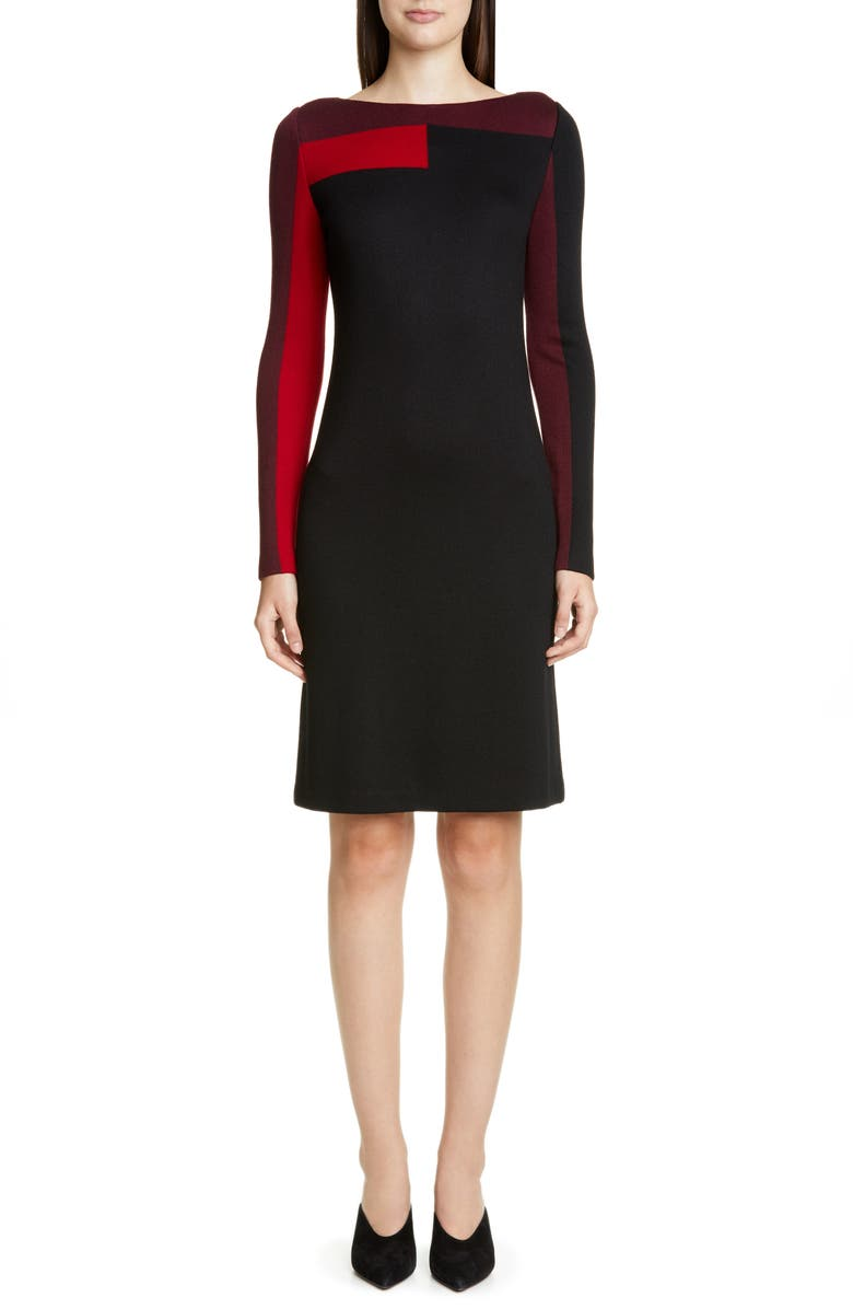 ST. JOHN COLLECTION Colorblock Long Sleeve Piqué Milano Knit Dress, Main, color, CAVIAR/ RUBY/ BURGUNDY