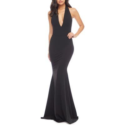 Dress The Population Camden Mermaid Hem Evening Gown, Black