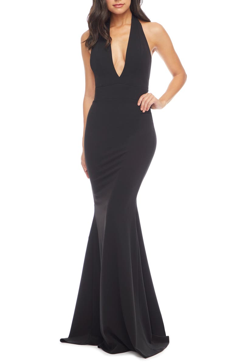 DRESS THE POPULATION Camden Mermaid Hem Evening Gown, Main, color, BLACK