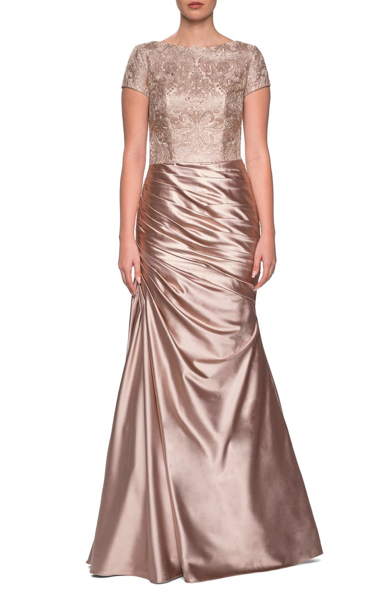 LA FEMME Embroidered Gown, Main, color, LIGHT GOLD