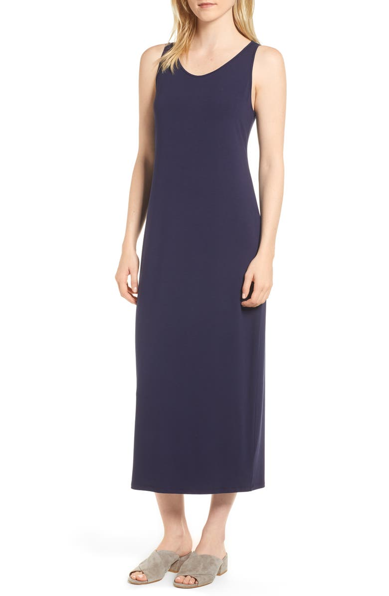 EILEEN FISHER Midi Tank Dress, Main, color, MIDNIGHT