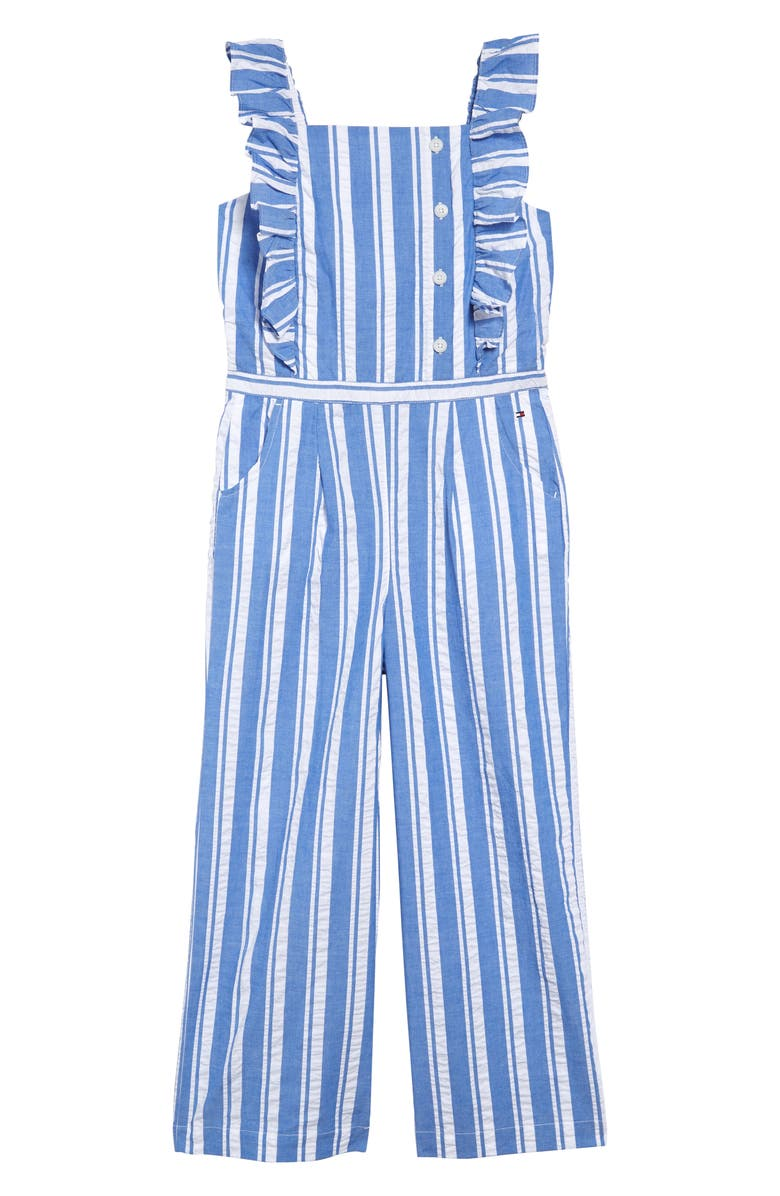 TOMMY HILFIGER Sleeveless Ruffle Jumpsuit, Main, color, 463