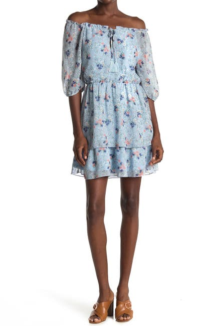 Image of BAILEY BLUE Floral Print Tiered Dress
