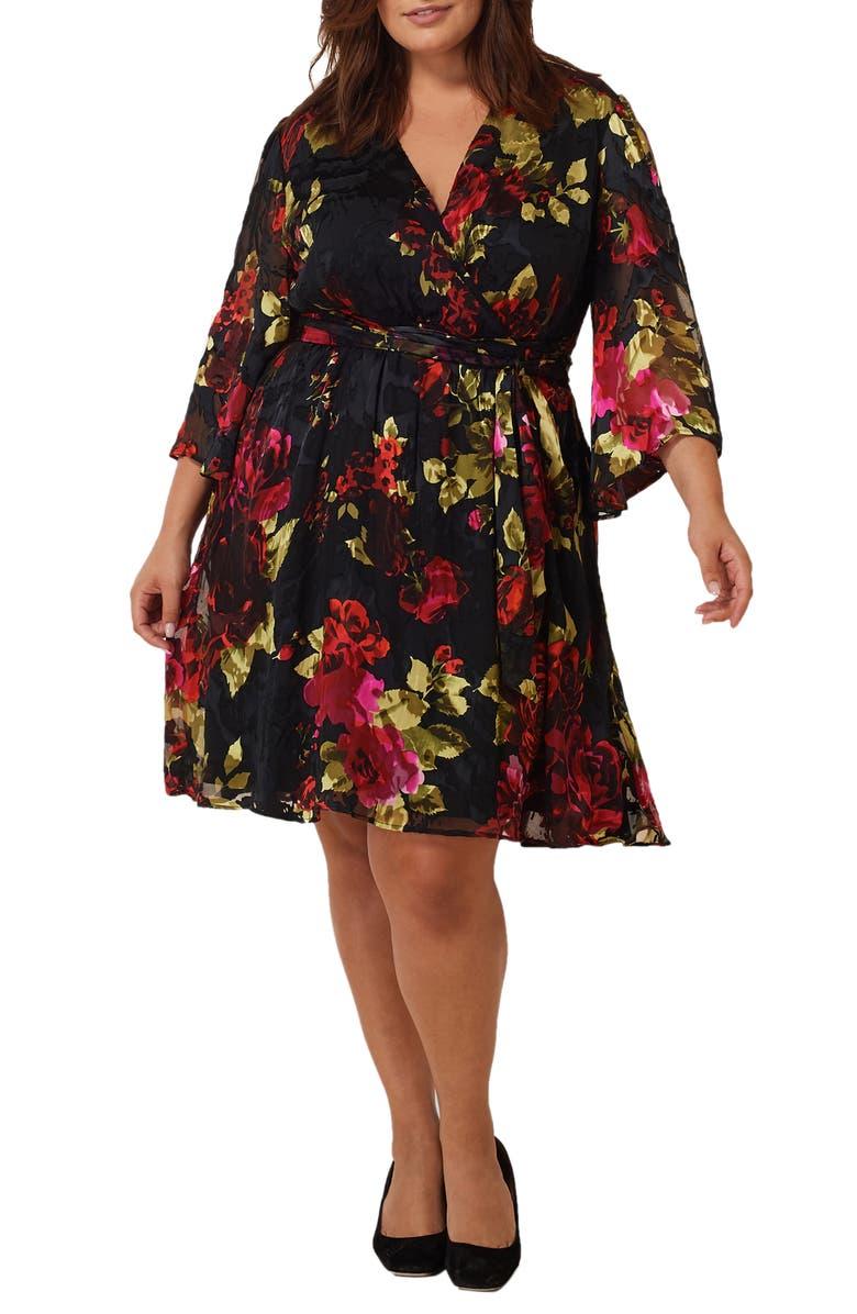 MARÉE POUR TOI Floral Print Burnout Wrap Dress, Main, color, BLACK/ RED