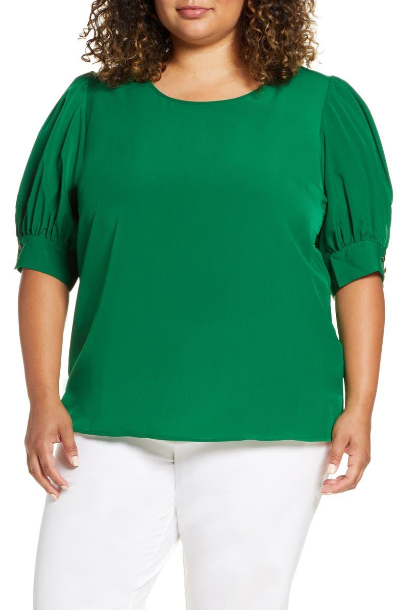 ELOQUII Puff Sleeve Top, Main, color, EMERALD