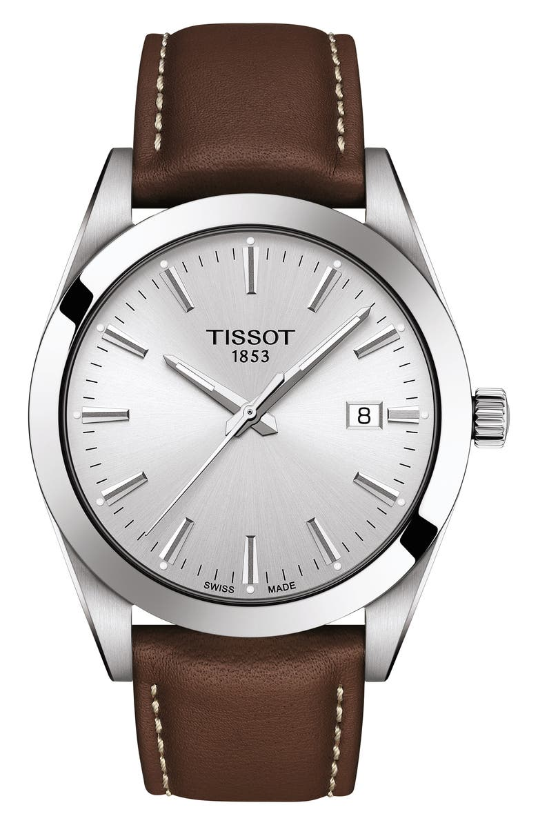 TISSOT T-Classic Gentleman Leather Strap Watch, 40mm, Main, color, BROWN/ SILVER