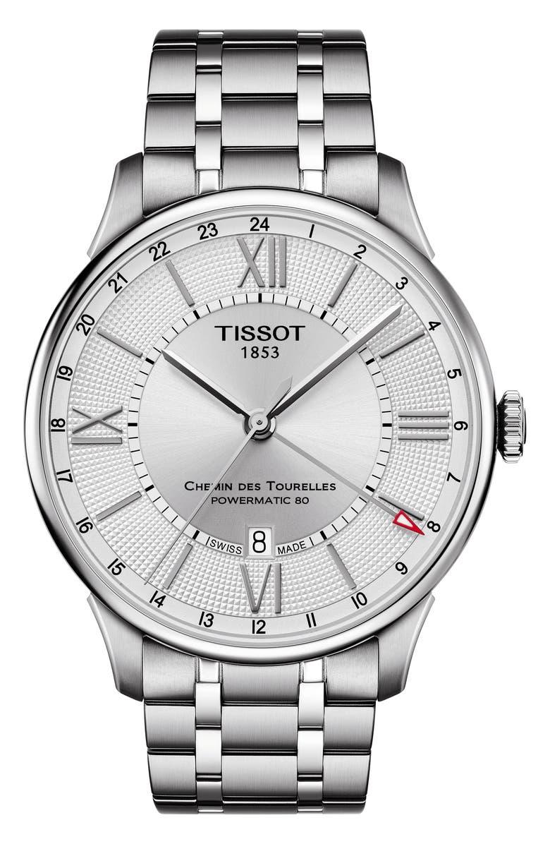 TISSOT T-Classic Chemin Des Tourelles Powermatic 80 Automatic Bracelet Watch, 42mm, Main, color, SILVER