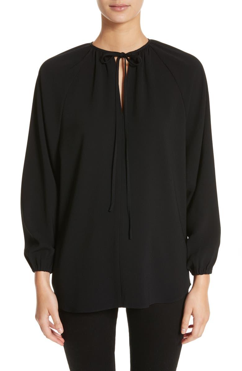 CO Tie Neck Blouse, Main, color, BLACK