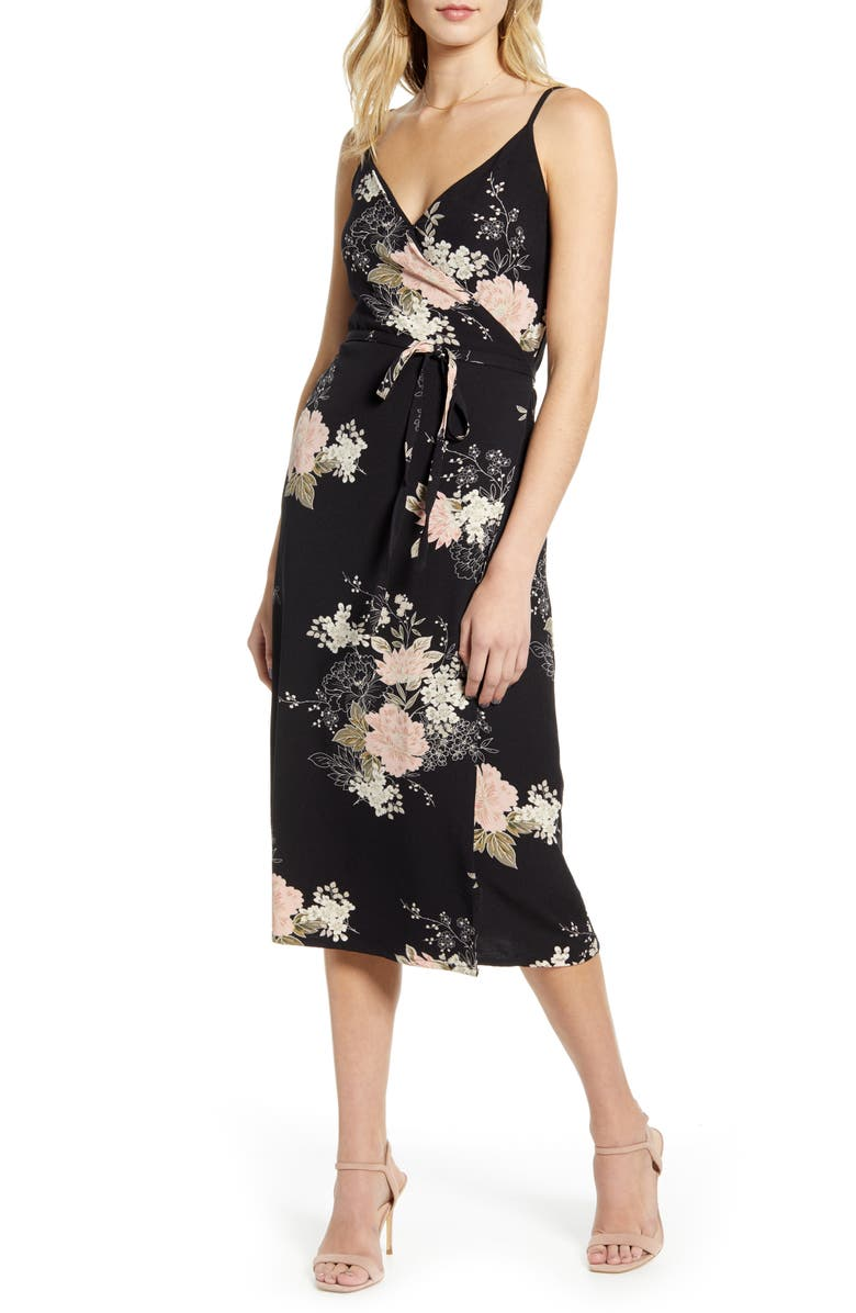 BISHOP + YOUNG Florentina Sleeveless Wrap Dress, Main, color, BLACK