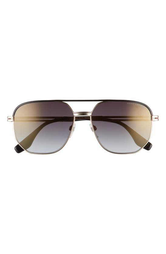 Marc Jacobs 58mm Gradient Aviator Sunglasses In Gold Black/ Grey Gold Grad
