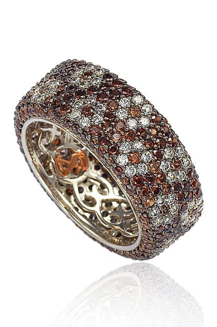 Image of Suzy Levian Sterling Silver Brown & White Cubic Zirconia Floral Eternity Band