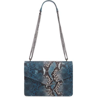 Ted Baker London Garance Snake Embossed Leather Shoulder Bag - Blue