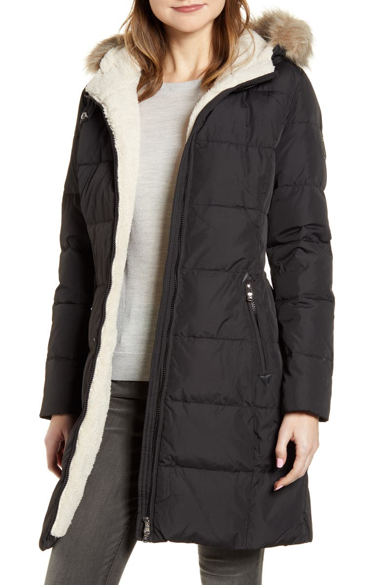 LAUREN RALPH LAUREN Quilted Faux Shearling Lined Down & Feather Parka, Main, color, 013