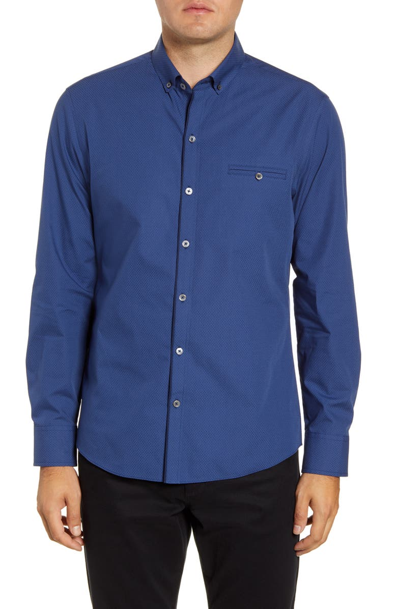 ZACHARY PRELL Evano Regular Fit Dobby Button-Down Shirt, Main, color, DK BLUE