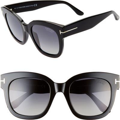 Tom Ford Beatrix 52mm Polarized Gradient Square Sunglasses - Shiny Black/ Smoke