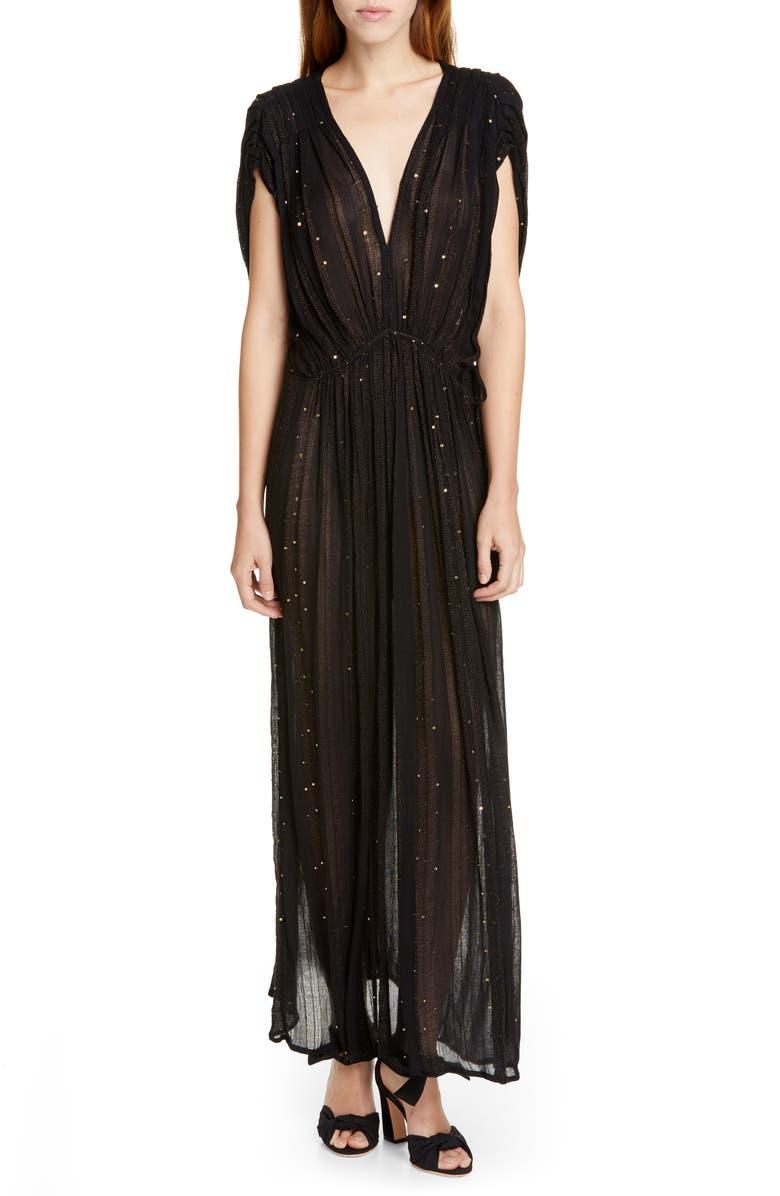 MES DEMOISELLES Nokomis Sequin & Metallic Detail Maxi Dress, Main, color, 001
