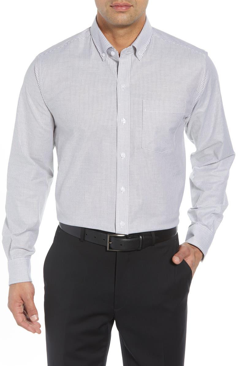 CUTTER & BUCK Classic Fit Stripe Stretch Oxford Shirt, Main, color, 010