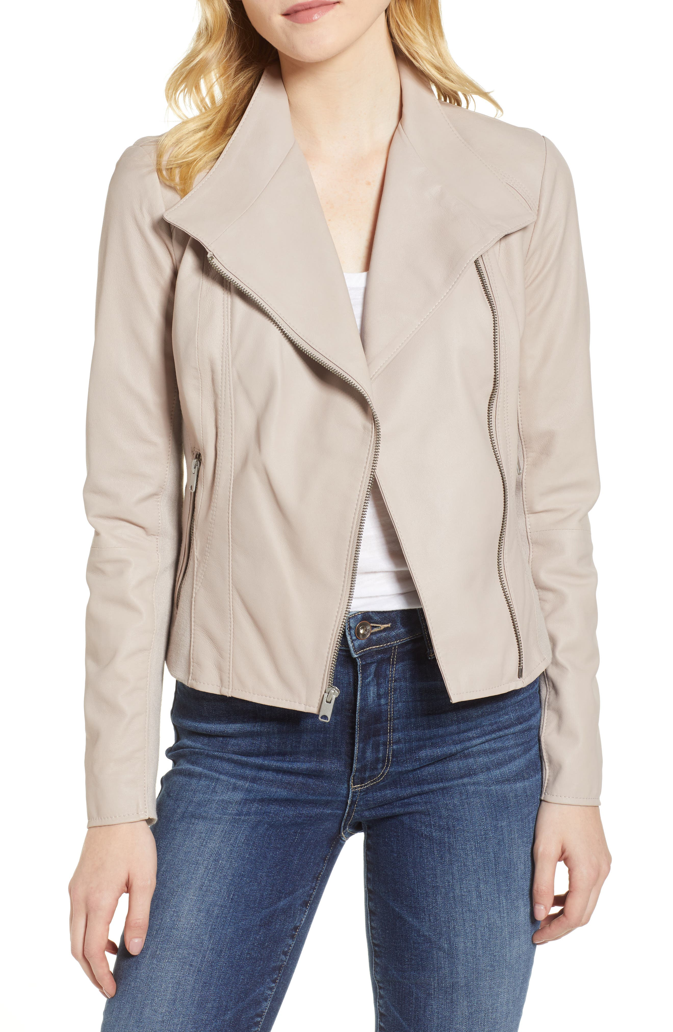 Marc New York by Andrew Marc Felix Stand Collar Leather Jacket, Main, color, CEMENT