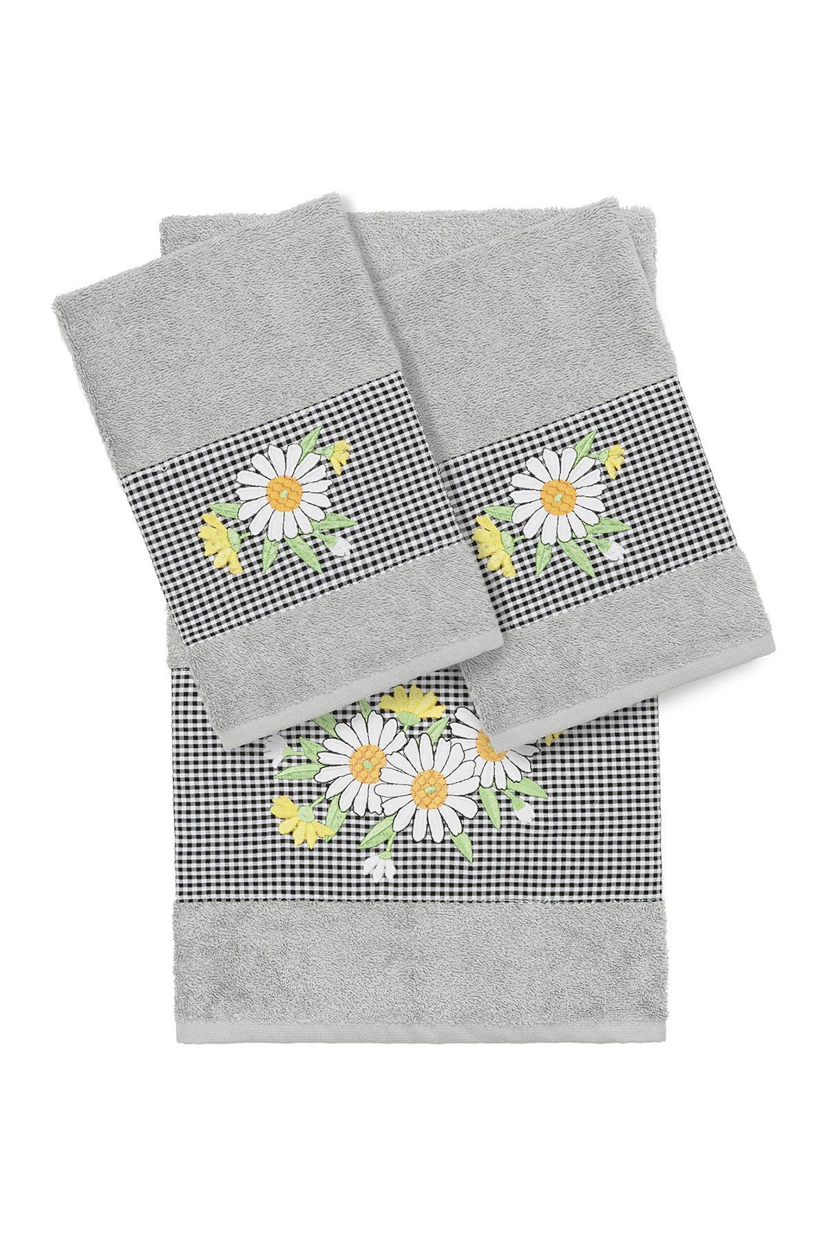 Image of LINUM HOME Daisy 3-Piece Embellished Towel - Light Gray