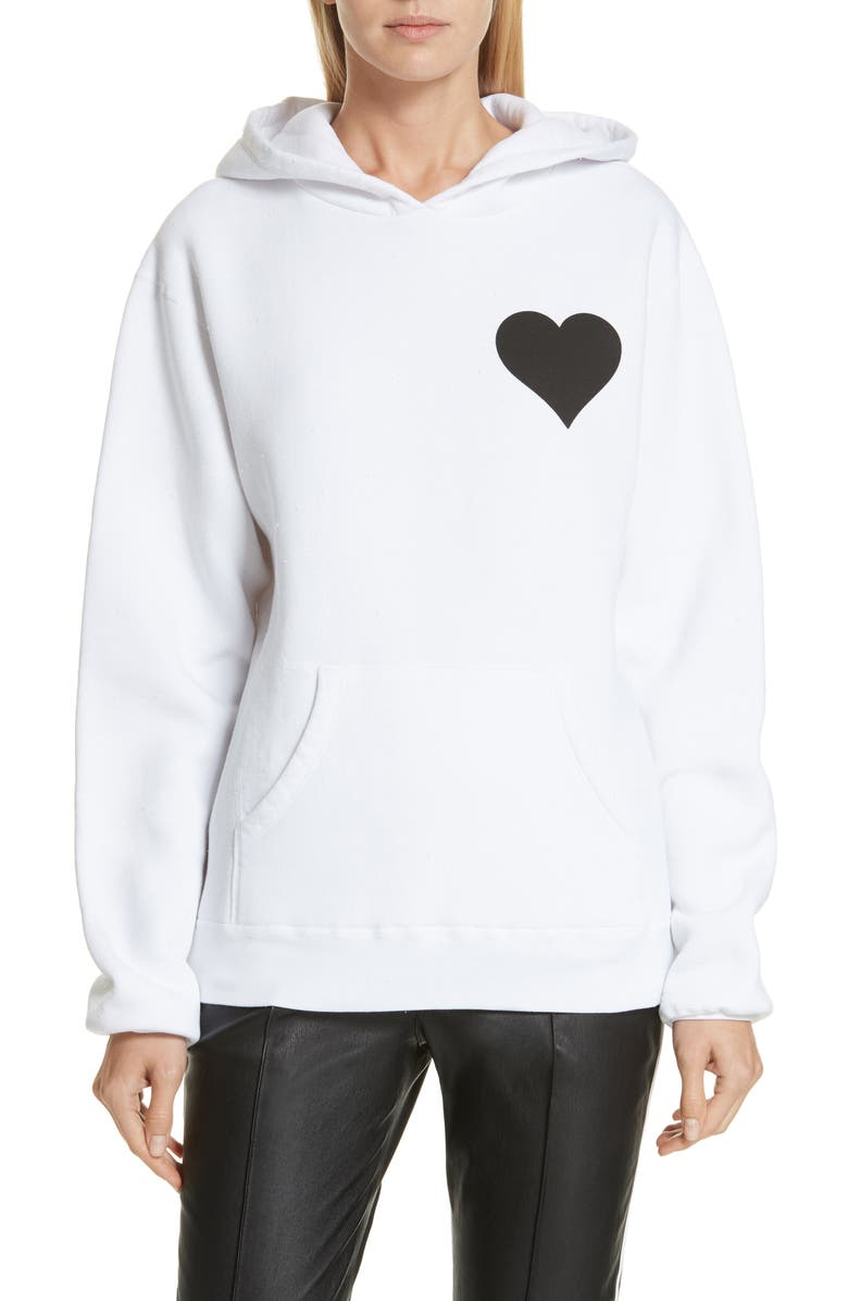 SPRWMN Heart Logo Back Hoodie, Main, color, WHITE