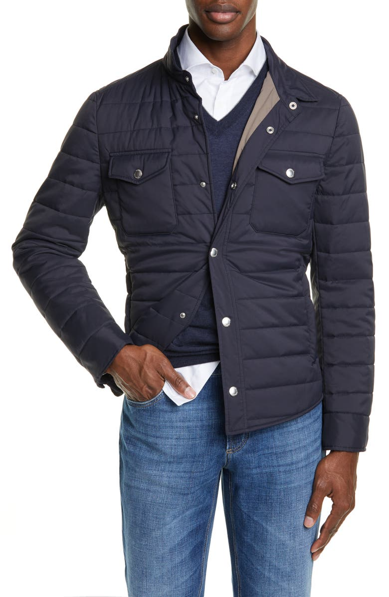 BRUNELLO CUCINELLI Quilted Nylon Shirt Jacket, Main, color, NAVY