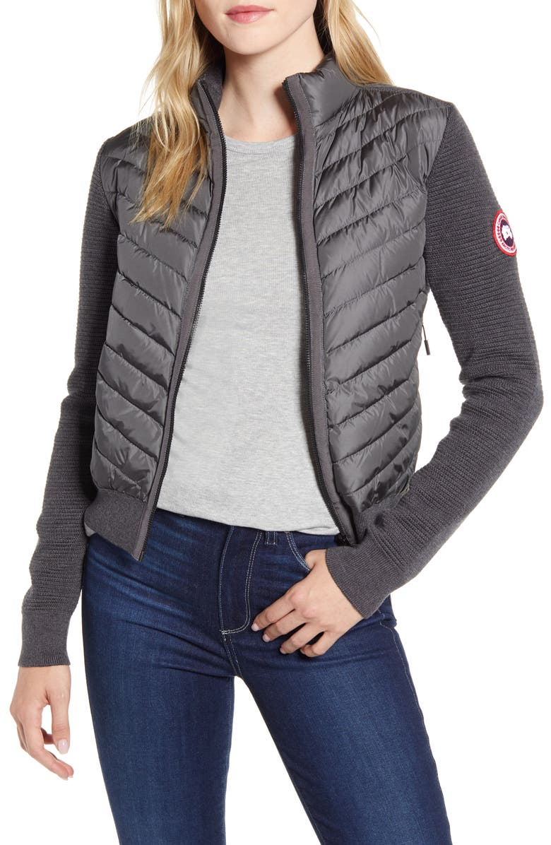 CANADA GOOSE Hybridge Quilted & Knit Jacket, Main, color, IRON GREY
