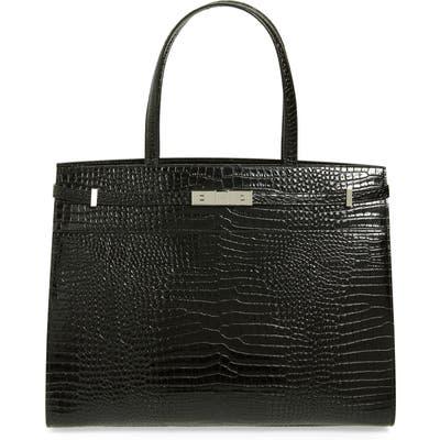 Saint Laurent Medium Manhattan Calfskin Leather Satchel - Black