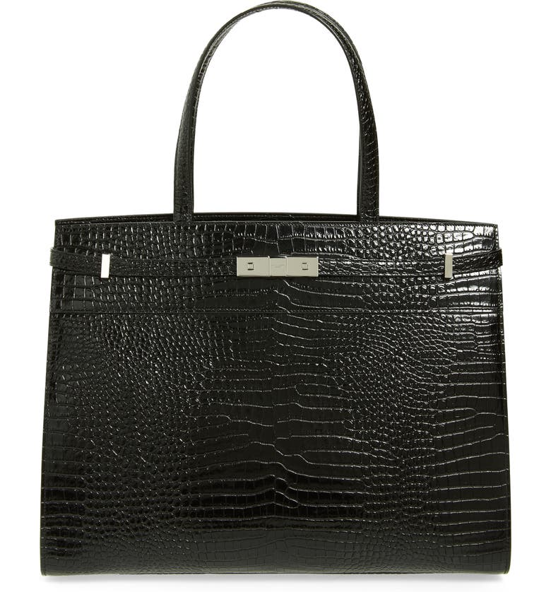 SAINT LAURENT Medium Manhattan Calfskin Leather Satchel, Main, color, NOIR
