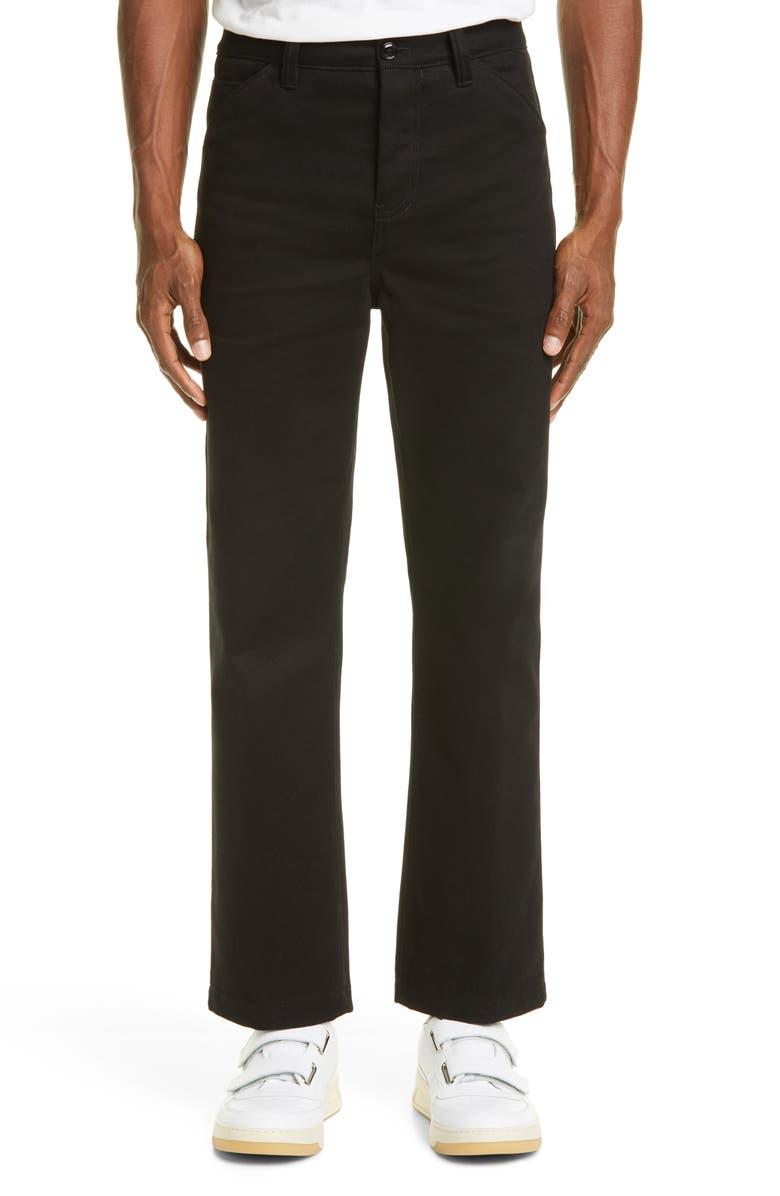 ACNE STUDIOS Aleq Crop Twill Pants, Main, color, BLACK
