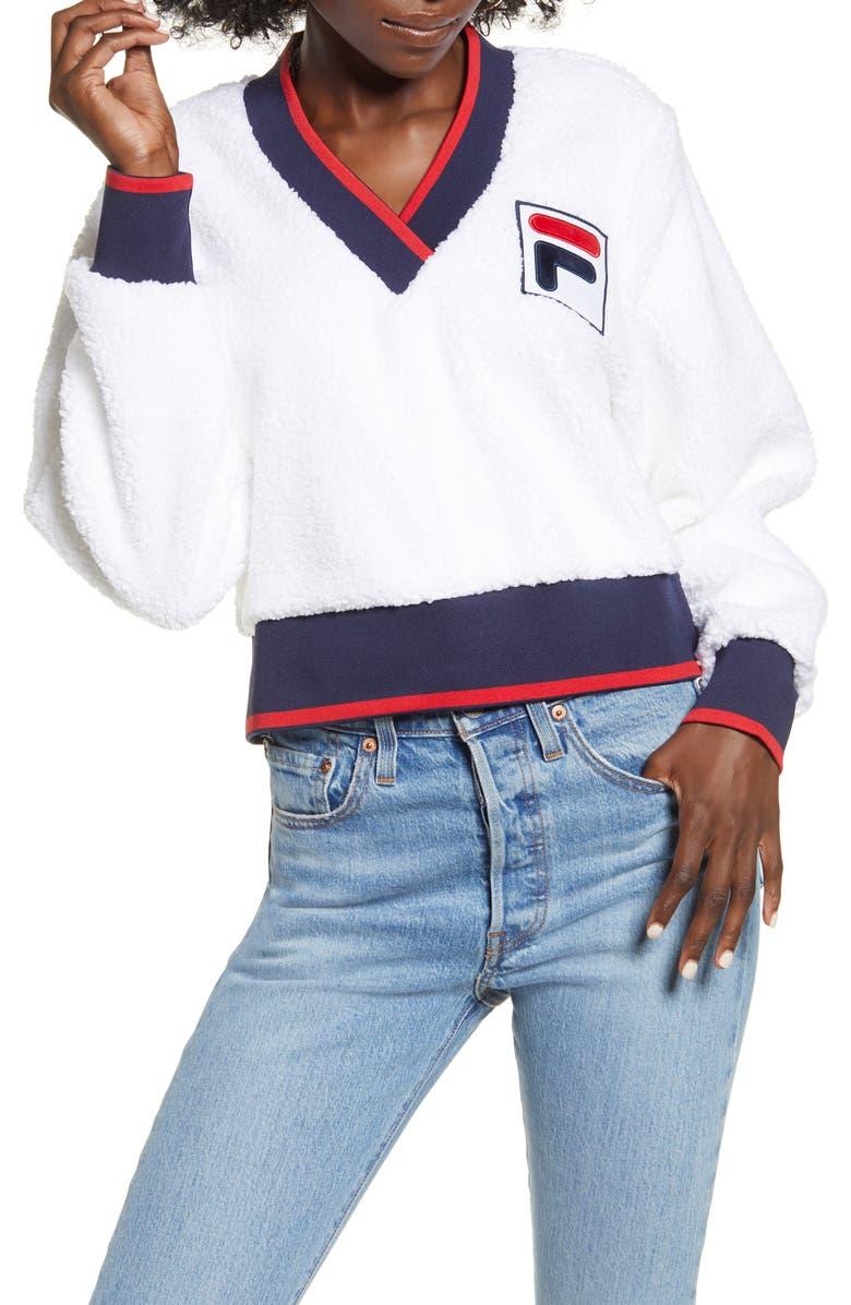 FILA Sylvia Crop Fleece Sweatshirt, Main, color, 100