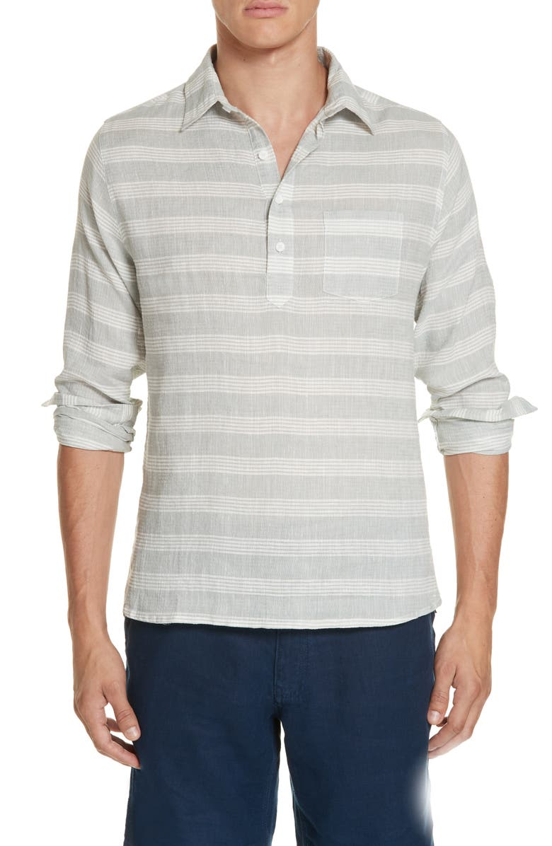 ONIA Chambray Stripe Pullover Woven Shirt, Main, color, GREY