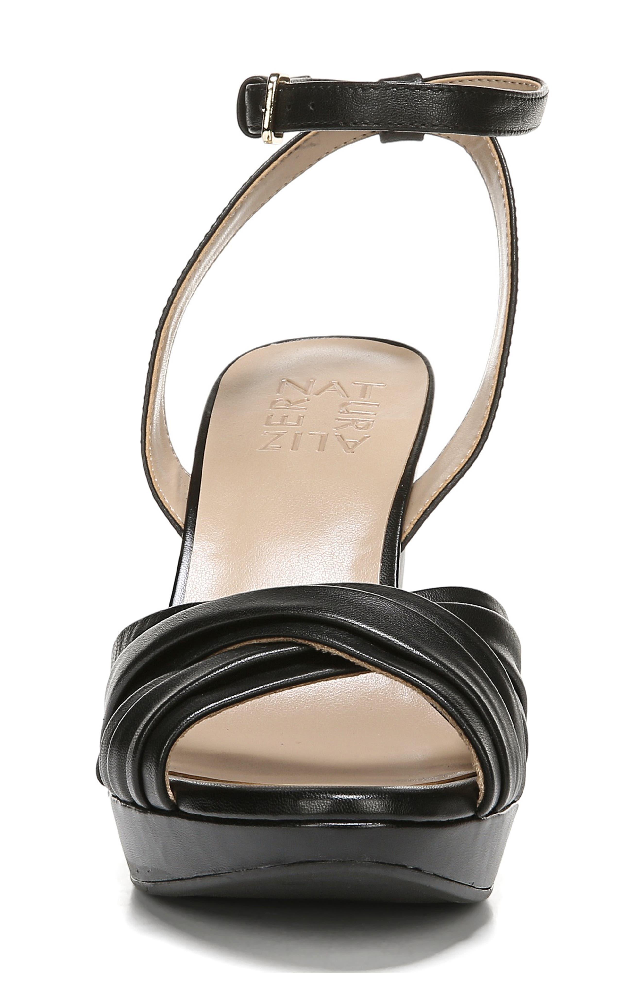 ,                             Avril Ankle Strap Sandal,                             Alternate thumbnail 4, color,                             BLACK LEATHER