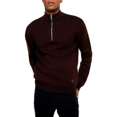 Topman Half Zip Plaited Mock Neck Sweater, Burgundy
