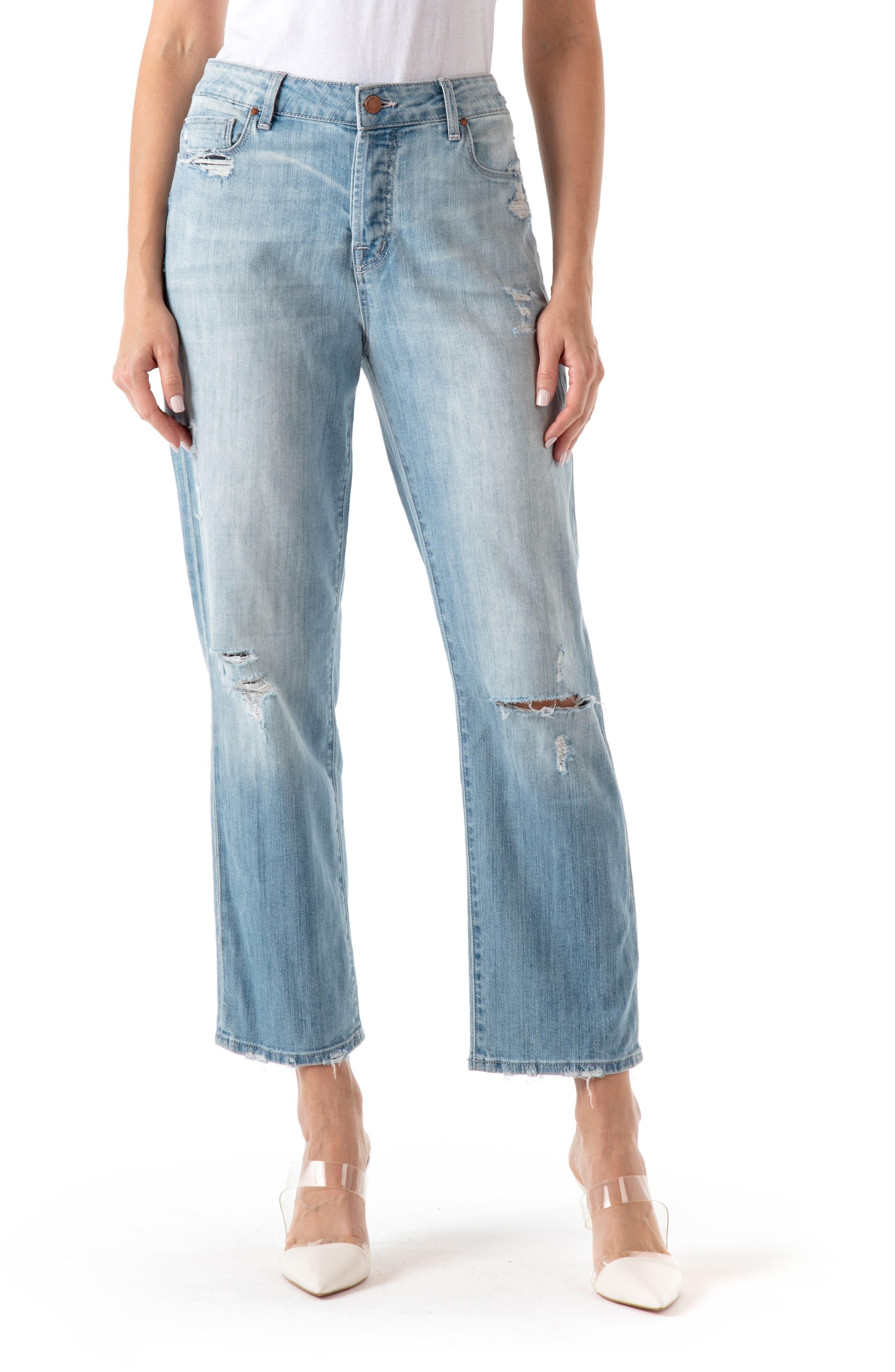 Jimi Ripped High Waist Crop Boyfriend Jeans