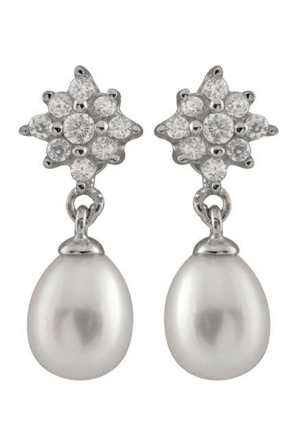 Image of Splendid Pearls CZ & 6-7mm Pearl Earrings
