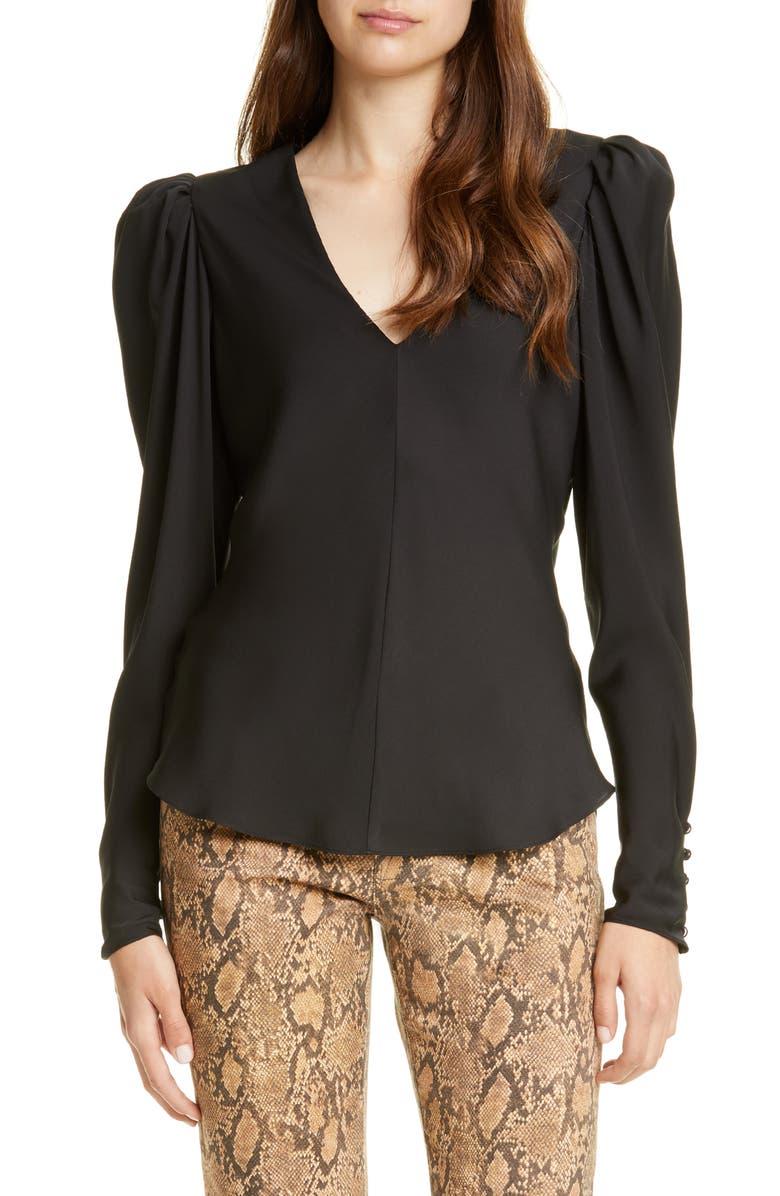 FRAME Shirred Silk Long Sleeve Blouse, Main, color, 001