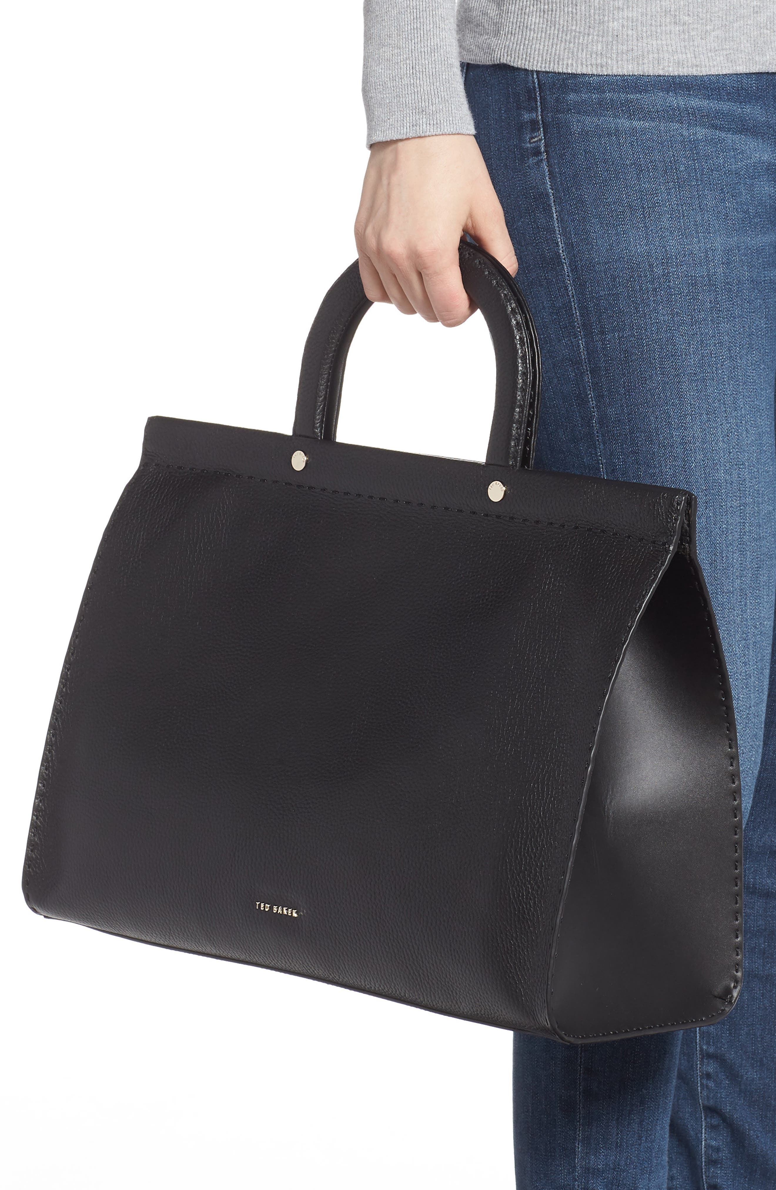 ,                             Miriian Stab Stitch Large Leather Tote,                             Alternate thumbnail 2, color,                             BLACK