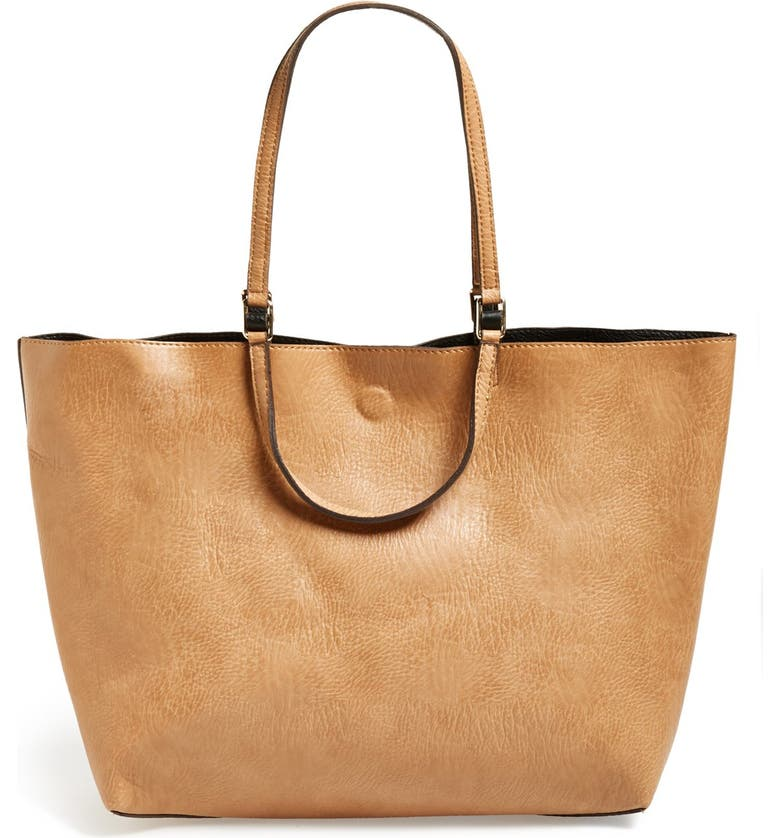 STREET LEVEL Reversible Faux Leather Tote, Main, color, 250
