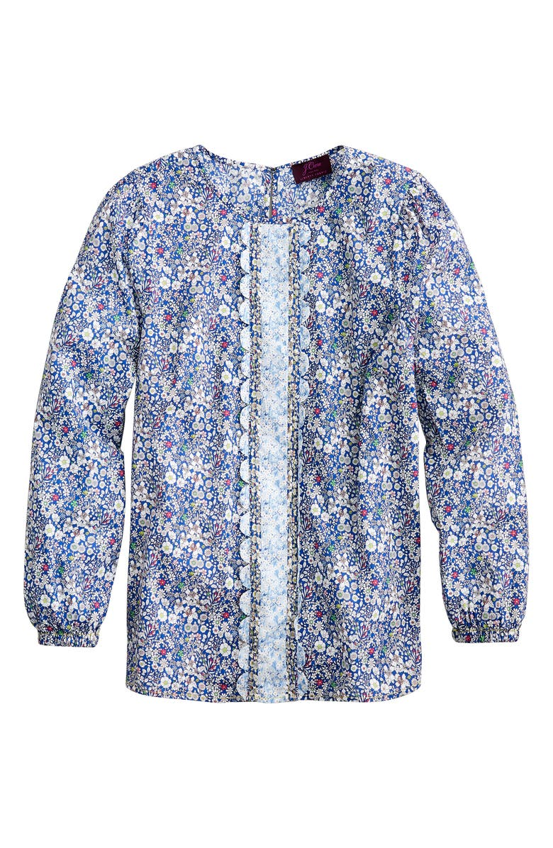 J.CREW Liberty<sup>®</sup> Mix Floral Long Sleeve Scallop Blouse, Main, color, INDIGO MULTI