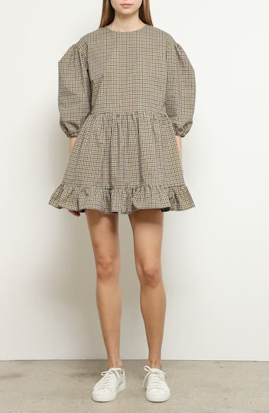Flor Gingham Puff Sleeve Minidress, video thumbnail
