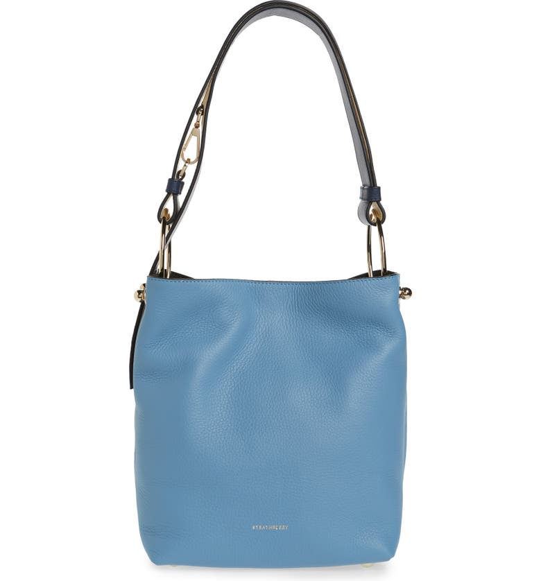 STRATHBERRY Midi Lana Tricolor Leather Bucket Bag, Main, color, ALICE BLUE/ NAVY/ VANILA