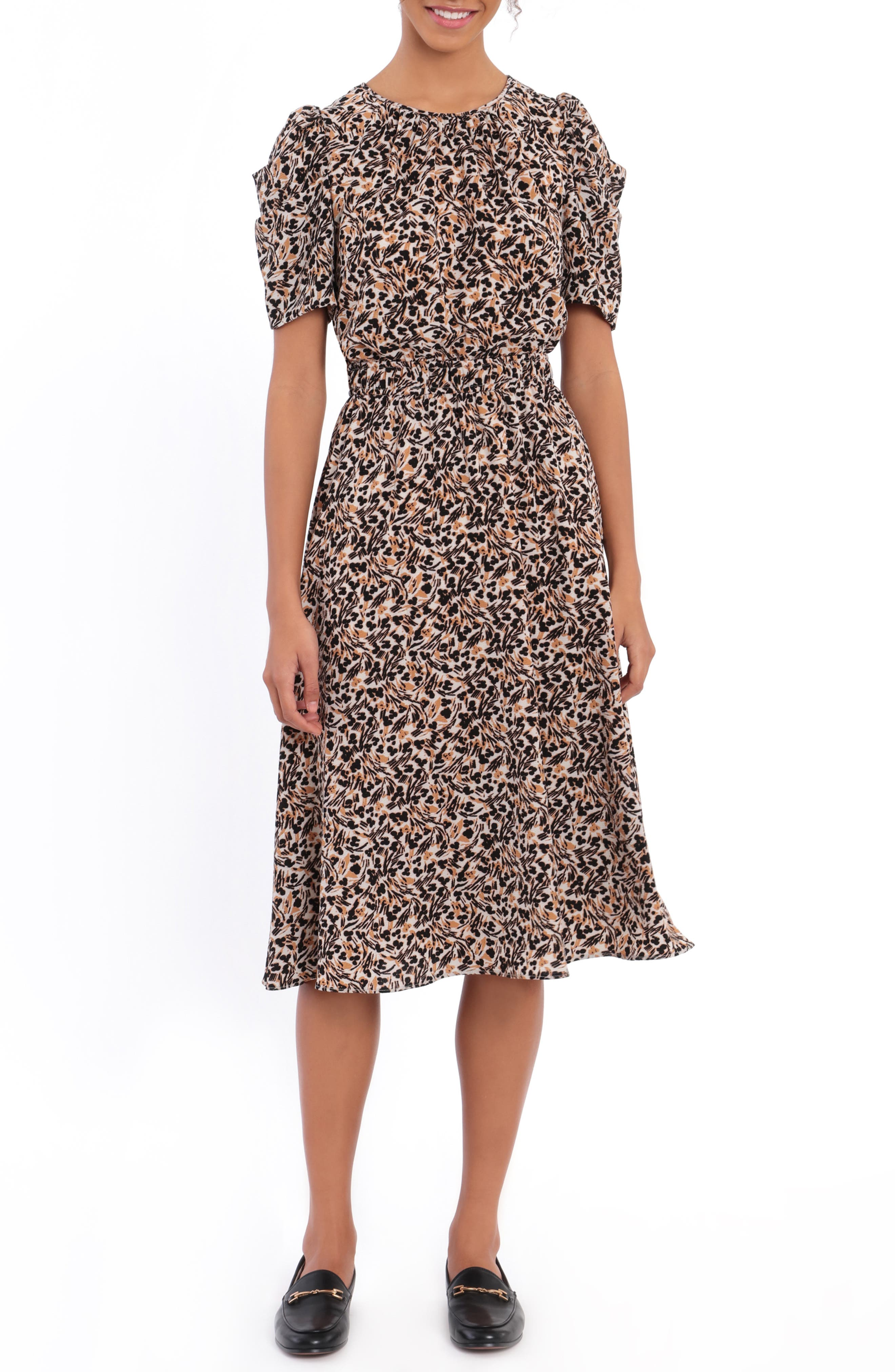 Floral Ruched Sleeve A-Line Bubble Crepe Dress