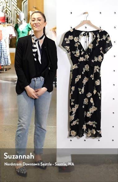 Floral Print Faux Wrap Chiffon Dress, sales video thumbnail