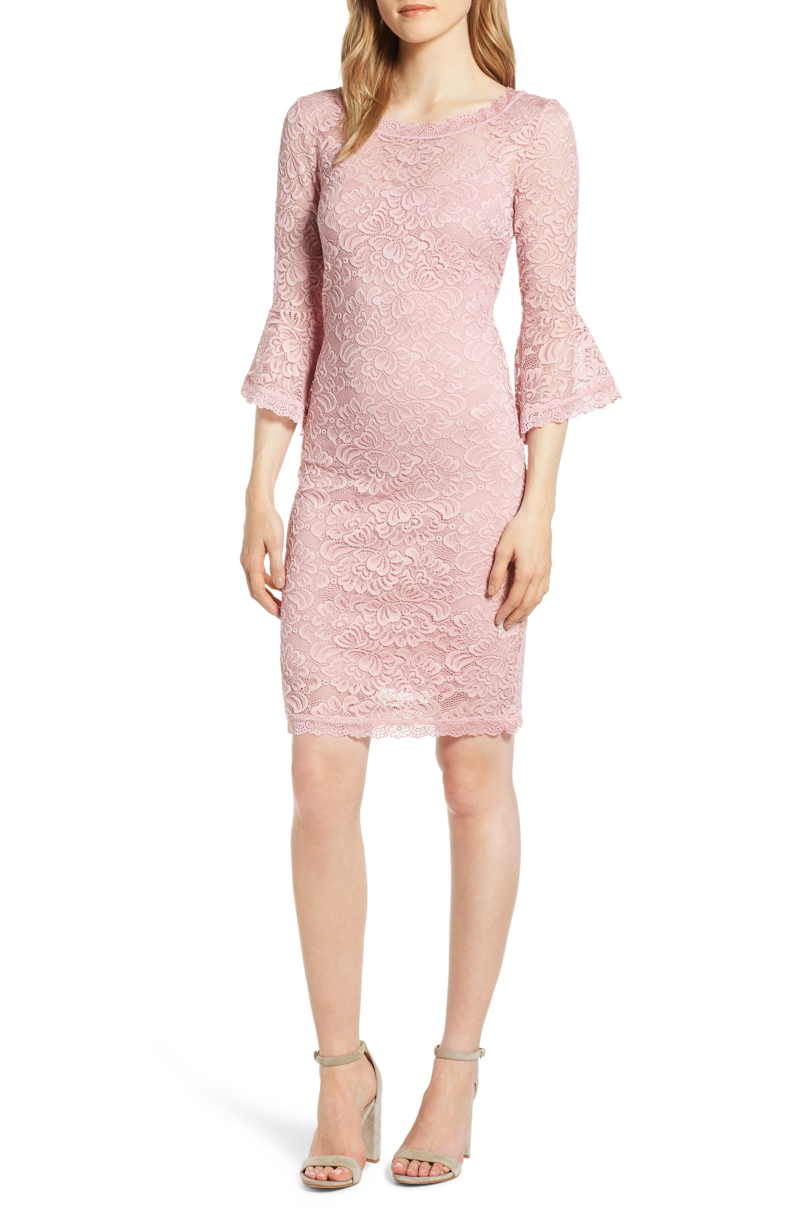 Rosemunde Lace Bell Sleeve Dress, Pink