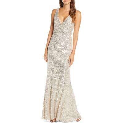 Jenny Yoo Billie Sequin Metallic Trumpet Gown, Grey