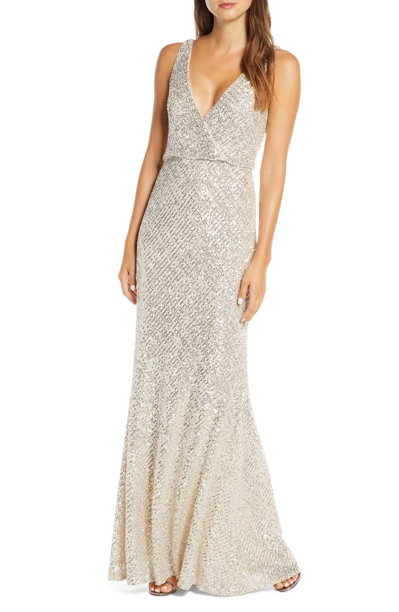 JENNY YOO Billie Sequin Metallic Trumpet Gown, Main, color, SILVER/ NUDE