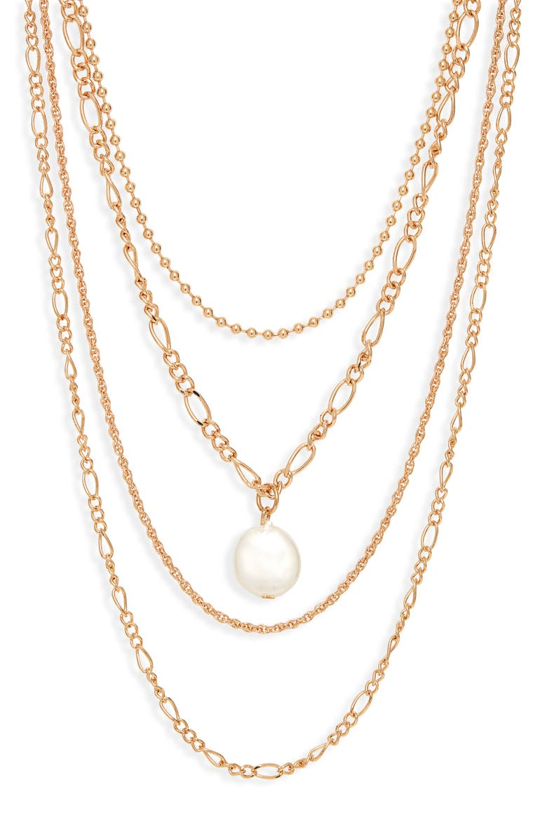BP. Layered Chain Necklace, Main, color, GOLD - WHITE