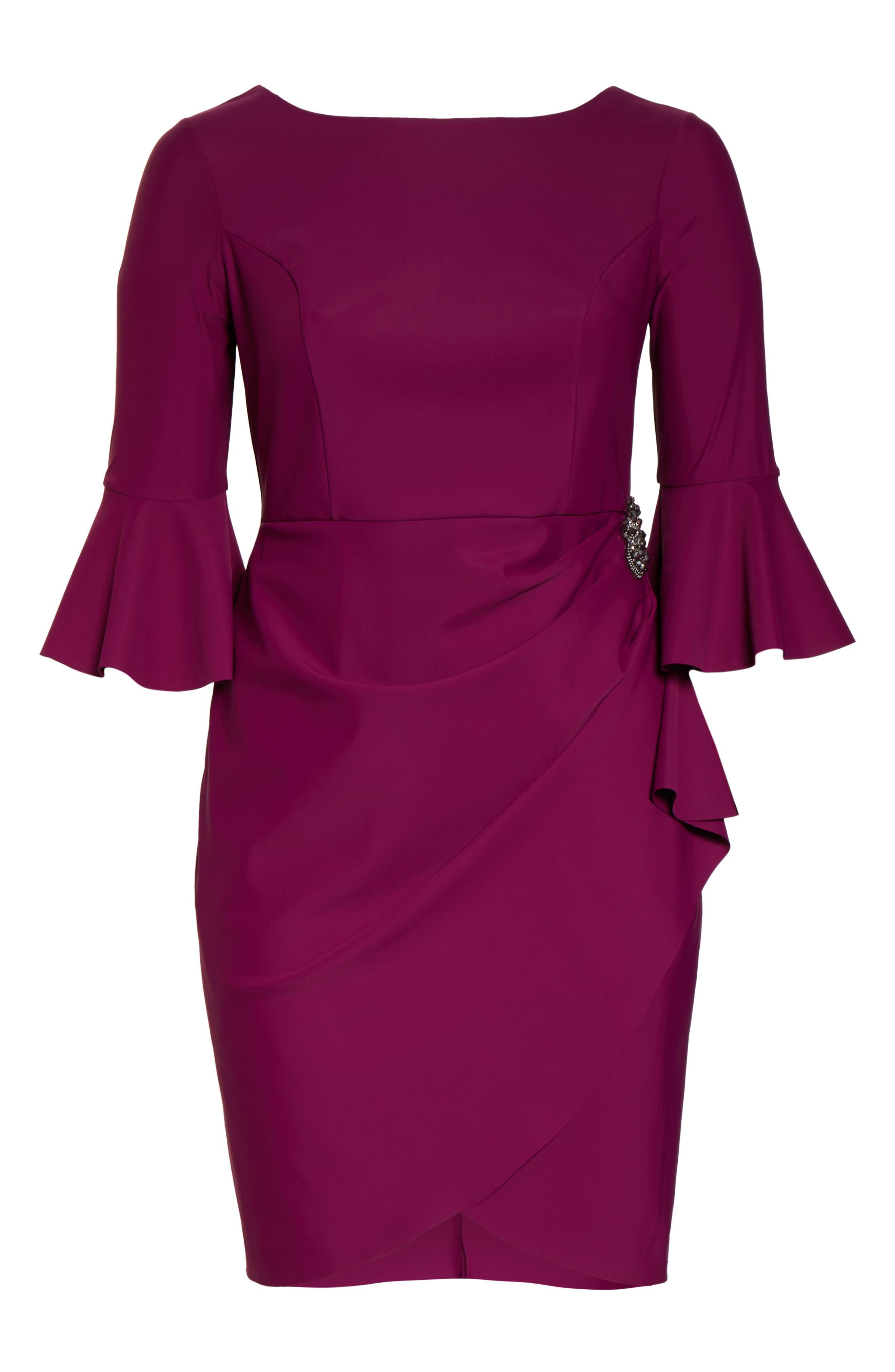 ,                             Bell Sleeve Sheath Dress,                             Alternate thumbnail 7, color,                             PASSION